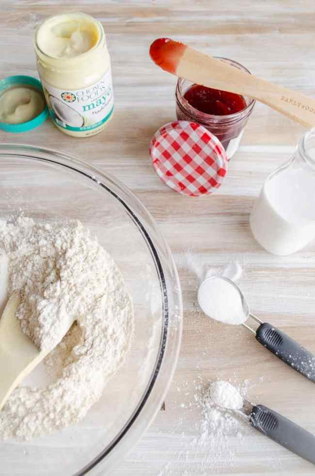 Ingredients laid out for making Quick Fluffy Coconut Biscuits.