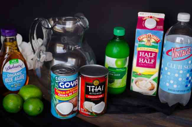 Ingredients for making a batch of Crowd Pleasing Coconut Lime Mocktail.