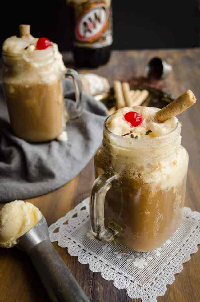 Two Rootbeer Floats in mugs made for a Family Night Rootbeer Float Bar.