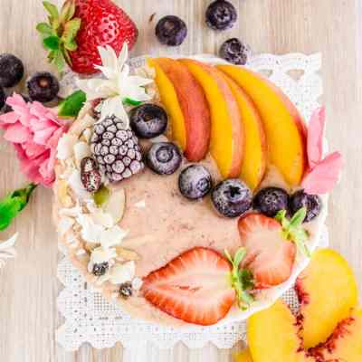 Strawberry Peach Coconut Smoothie Bowl