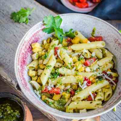 Pesto Pasta with Roasted Root Veggies