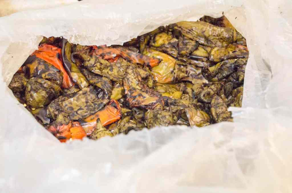 Roasted green chiles in the bag ready to be processed for New Mexico Green Chile Roasting 101