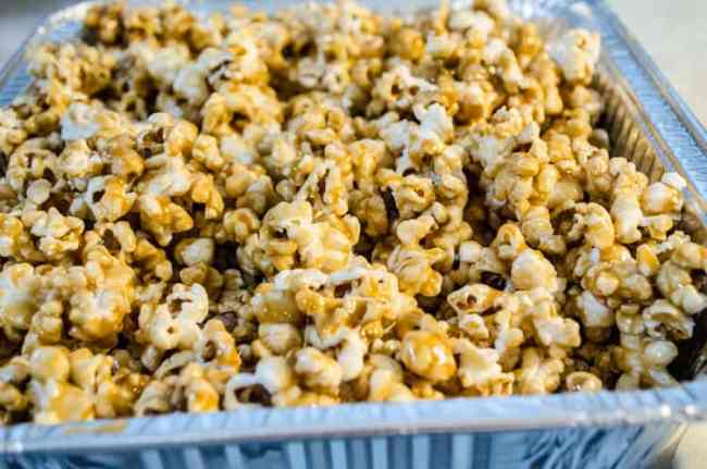Freshly made Microwave Caramel Popcorn - The Goldilocks Kitchen