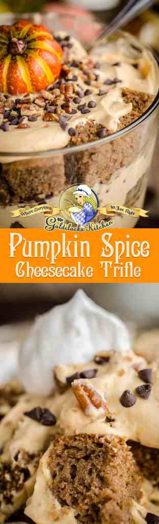 This Pumpkin Spice Cheesecake Trifle is a towering masterpiece of spice cake, whipped pumpkin cream cheese and candy goodness. It's also one of the easiest desserts you'll ever make that always impresses guests with it's beauty and decadent flavors.