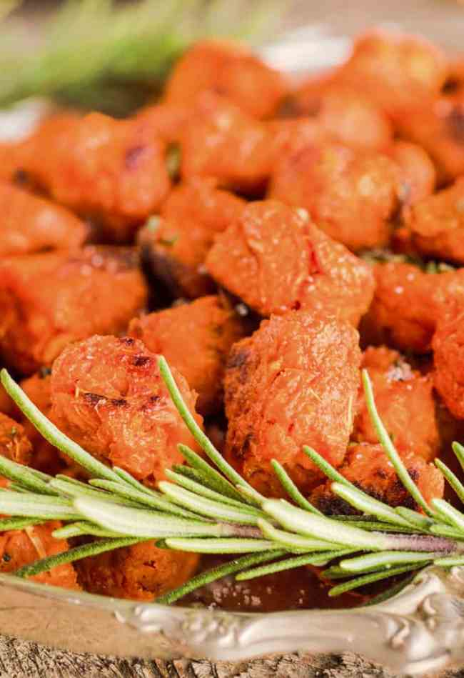 A close up picture showing the texture of homemade Sweet Potato Tater Tots - The Goldilocks Kitchen