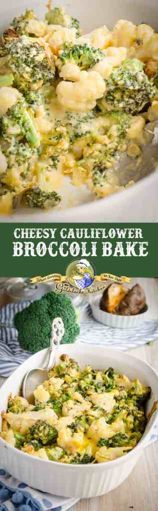 This simple and delicious Cheesy Cauliflower Broccoli Bake makes a great side for any chicken, beef or pork entree.