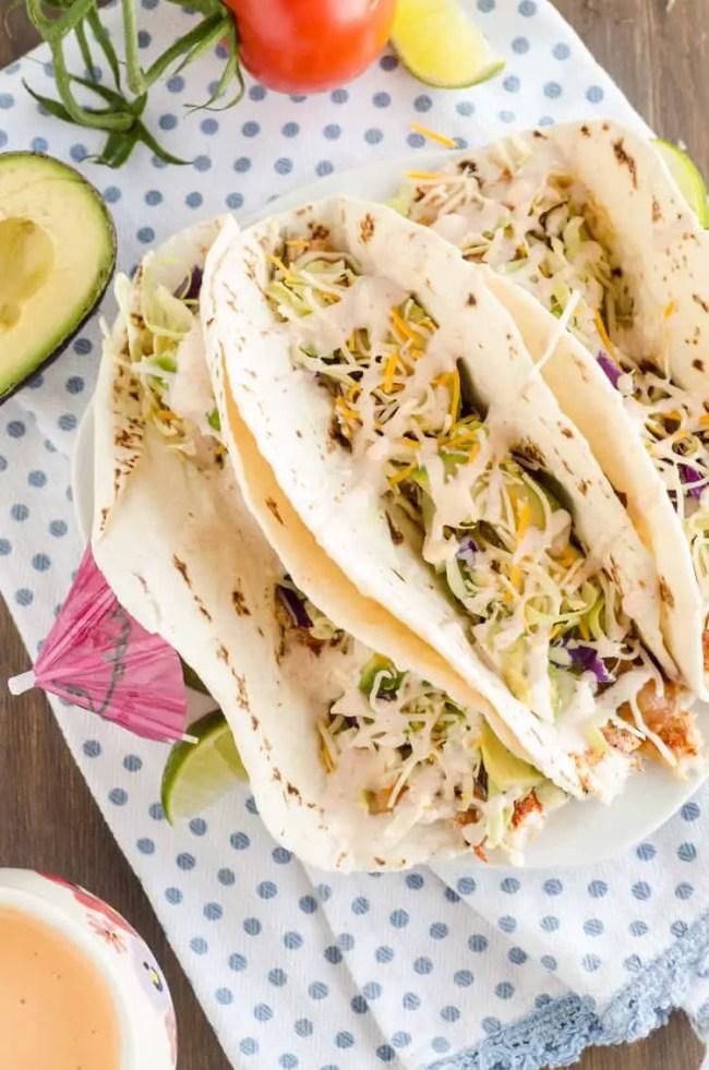 Baja Fish Tacos seen from above - The Goldilocks Kitchen