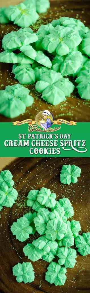 Baking these cute little St. Patricks Day Cream Cheese Spritz Cookies is so much fun- they hold their shape perfectly in the oven, making them a great fit for using in a cookie press.