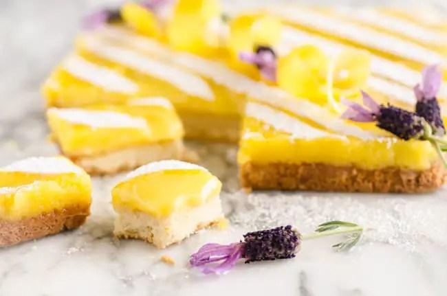 Goldilocks Kitchen Lemon Bars cut into a few individual servings - The Goldilocks Kitchen