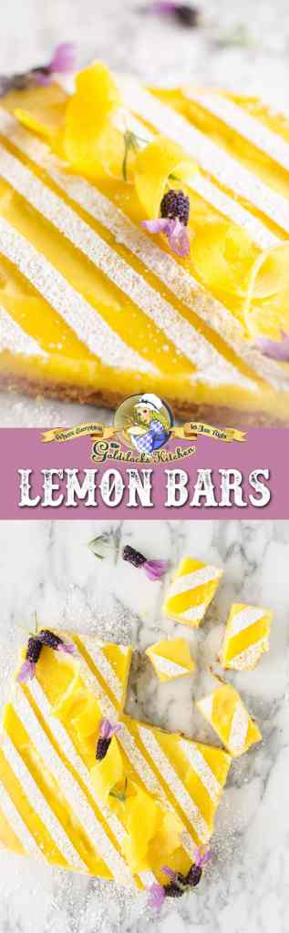 These delightfully delicious lemon bars make the perfect treat to take on a picnic, present to your bookclub, or serve at your next backyard barbecue. They have just the right amount of sweet/tart flavor and the lemony flavor is complemented with an almond shortbread crust. Happen to have some dried culinary lavender lying around? Add a tablespoon and a half to the crust before baking for a light floral-flavor component.