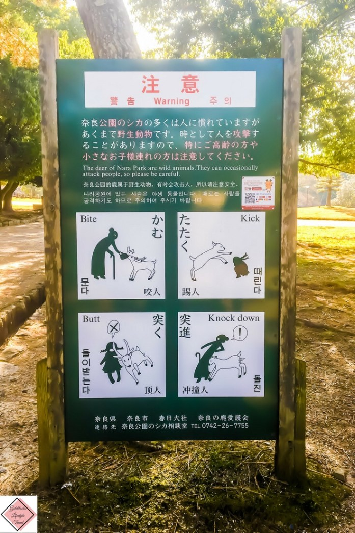Warning signs to warn about the danger of wild deer at Nara Park