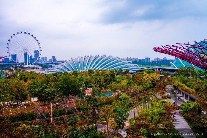 The view of Garden By The Bay and the Marina Bay area Singapore