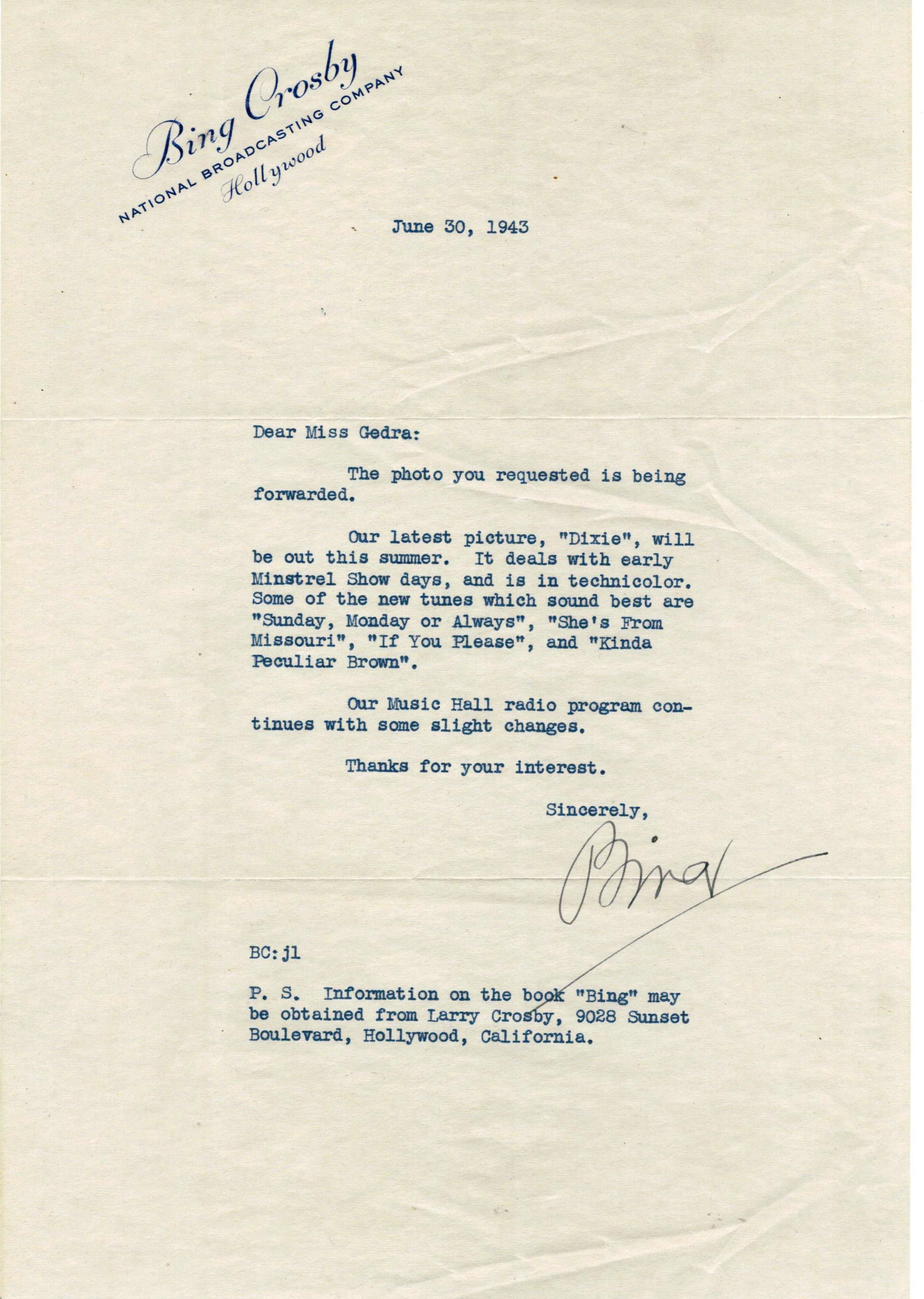 Lot Detail Bing Crosby Signed 1936 1st Day Cover And 1943 Letter 2