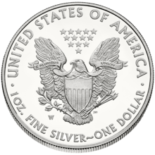 "Rear, or ""reverse"", side of American Silver Eagle"