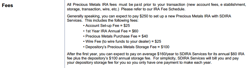 Self Directed IRA Services Fees 1