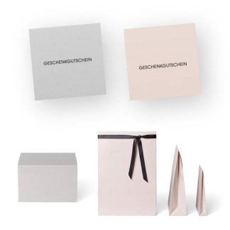 Exquisite Gutscheine und Verpackungen in eleganten Farbkombinationen