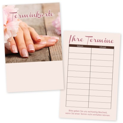 Nagelpflege-Terminkarte NATURAL NAILS mit 10 Terminen