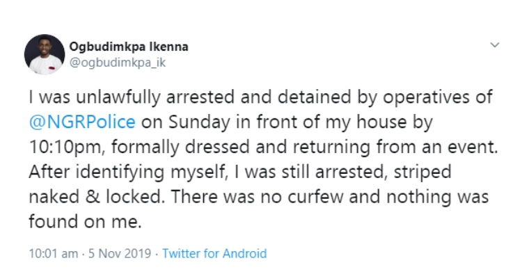 """""""I was arrested, striped naked & locked"""" Man accuses the Nigerian police of unlawful arrest"""