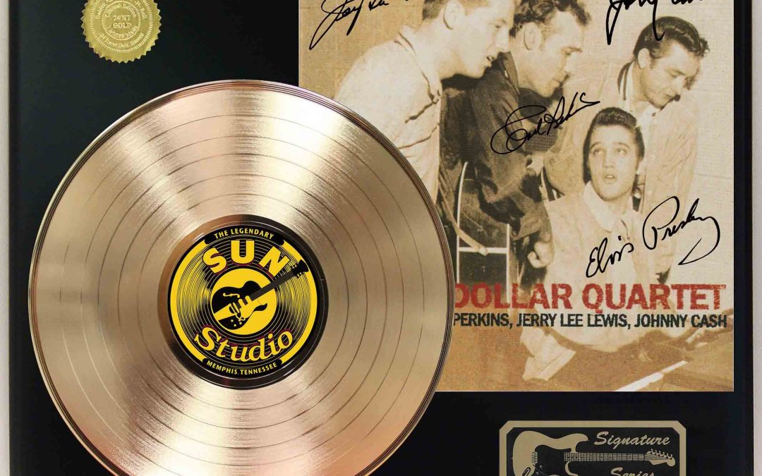 Elvis Presley – Million Dollar Quartet Gold LP Record Signature Display C3