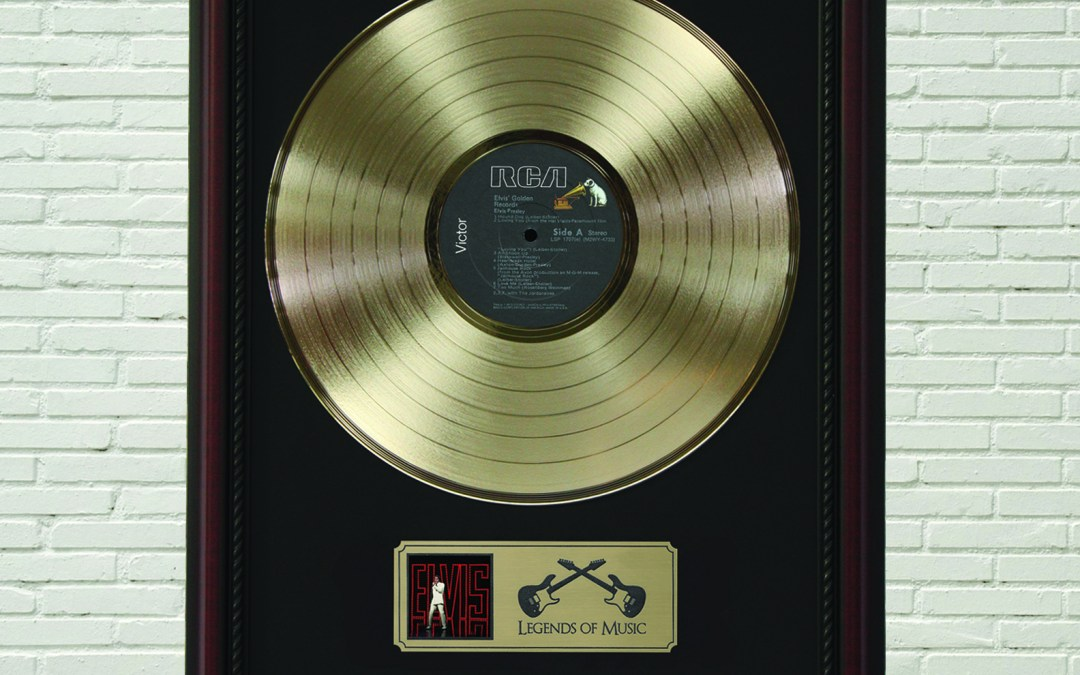 Elvis Presley – Golden Records Framed Cherry Wood Legends Gold LP Record Display M4