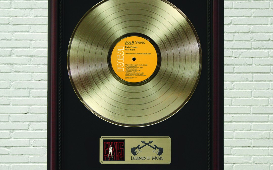 Elvis Presley – Pure Gold Framed Cherry Wood Legends Gold LP Record Display M4
