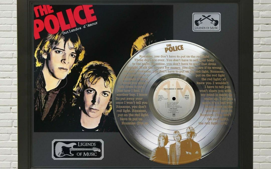 Police – Roxanne Framed Legends Of Music Etched Platinum LP Record Display