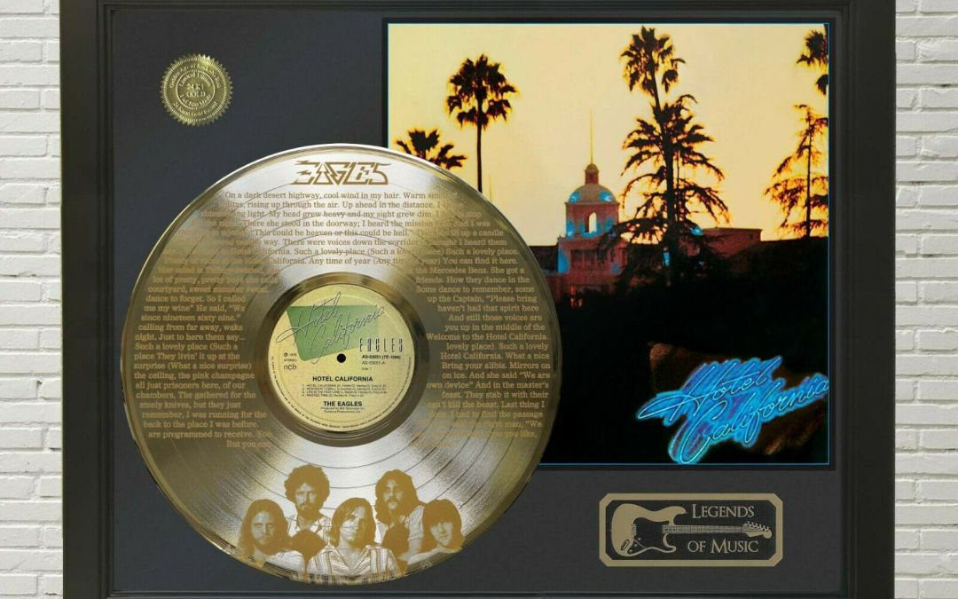 Eagles – Hotel California Framed Legends Of Music Etched Gold LP Record Display