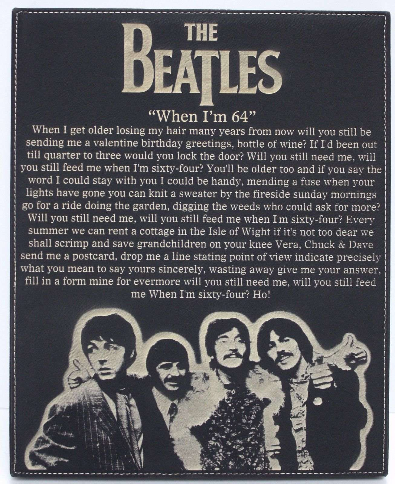 Beatles When I M 64 Laser Etched Lyrics Band Art Black Leatherette Plaque C3 Gold Record Outlet Album And Disc Collectible Memorabilia