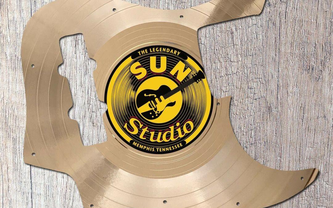 Elvis Presley Sun Studio Label Gold LP Fender Jazz Bass Guitar Pickguard