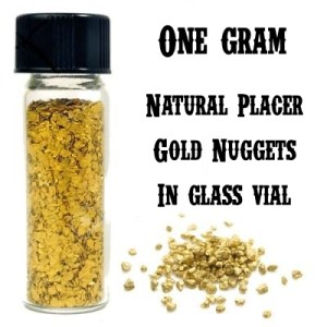 ONE GRAM of GOLD Nuggets In Glass Vial.  Real Gold Guarantee!  Free Ship!