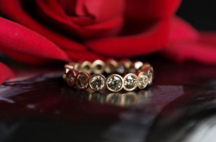 Memoirring-rosegold-braune brillanten