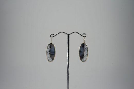 Ohrhänger in 925er Silber mit ovalen Dendriten-Achat-Cabuchons 205 €