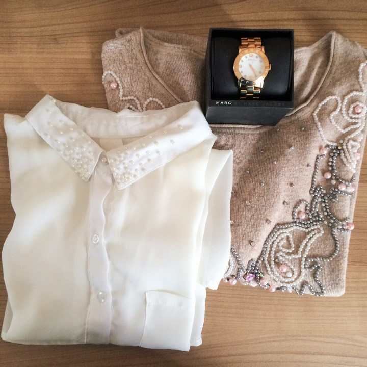 Blouse embroidered with pearls
