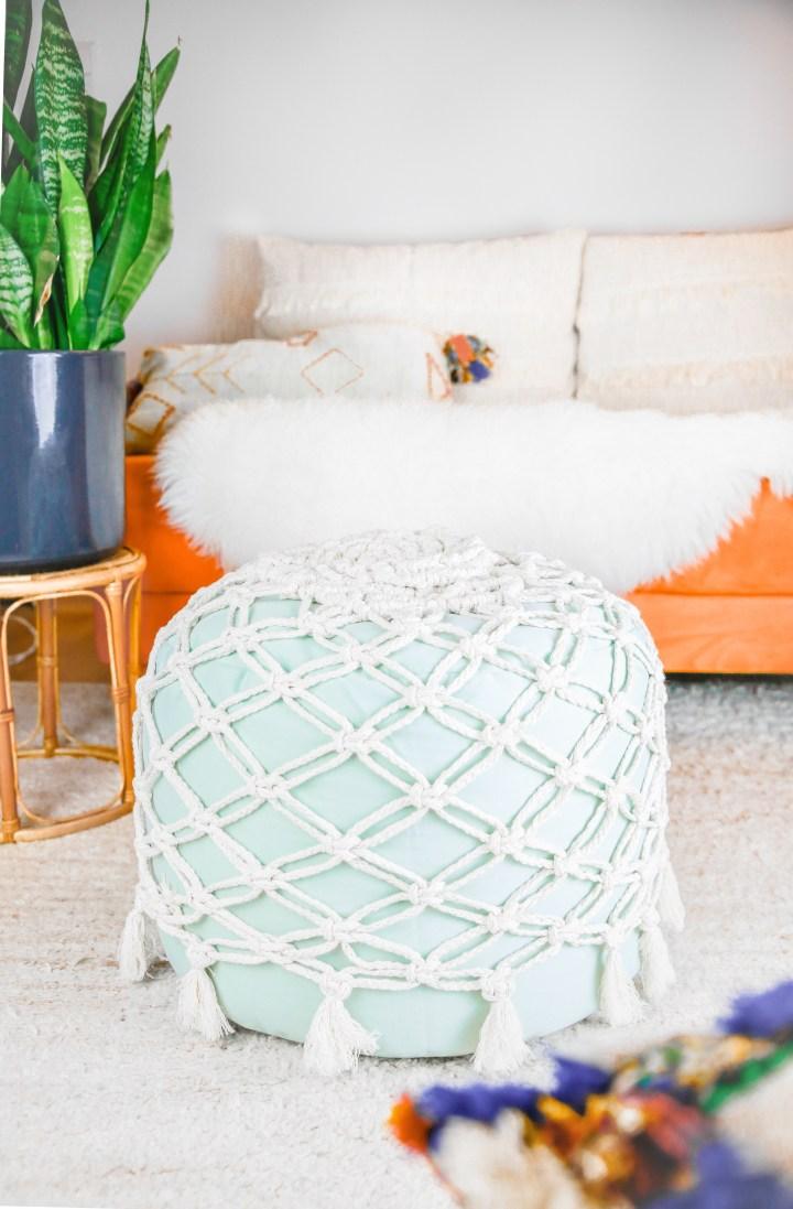 DIY Makramee-Pouf / Fußhocker fürs Wohnzimmer
