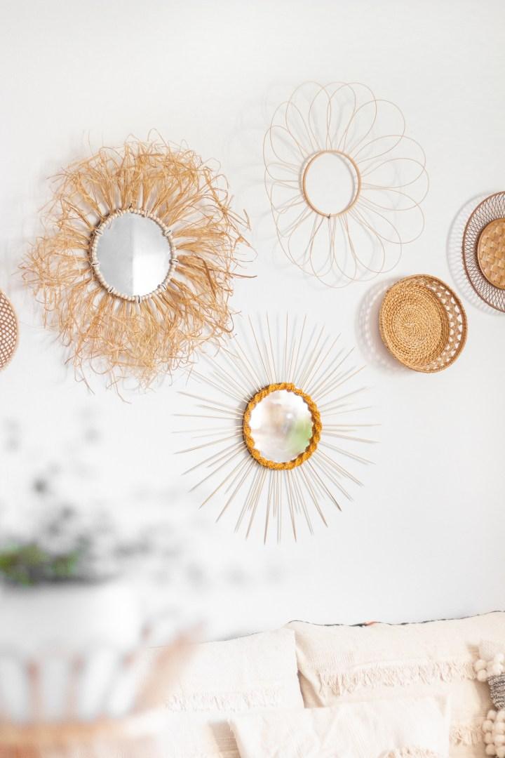 DIY Boho-Sonnenspiegel als Wanddeko