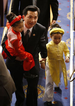 Representative Ahn with his two daughters before swearing in