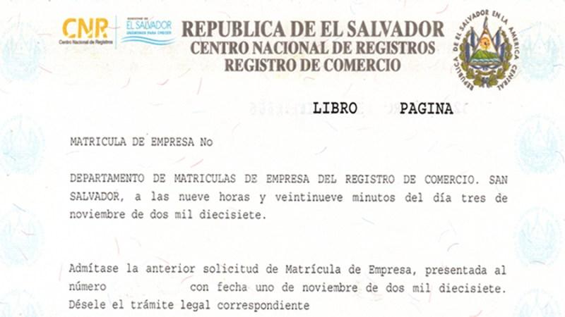 Matrícula de Comercio en El Salvador