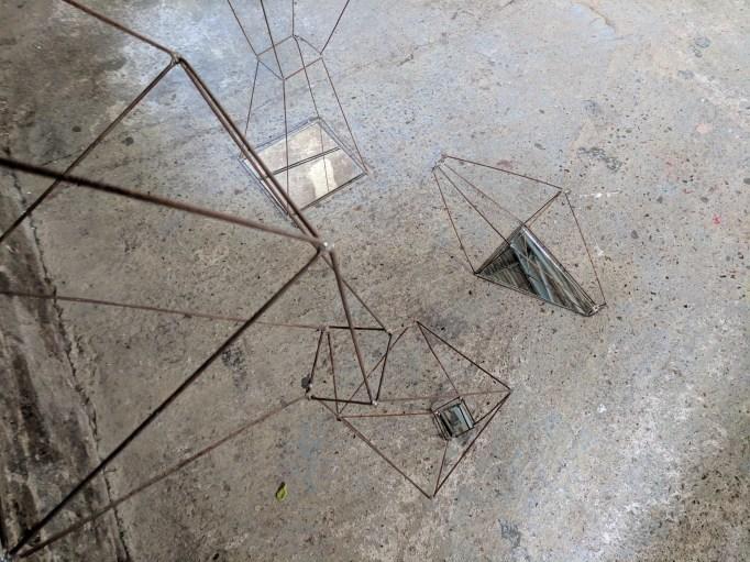 Geometric wire form in situ at Asylum Chapel