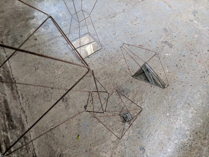 Geometric wire form in situ at Asylum Chapel