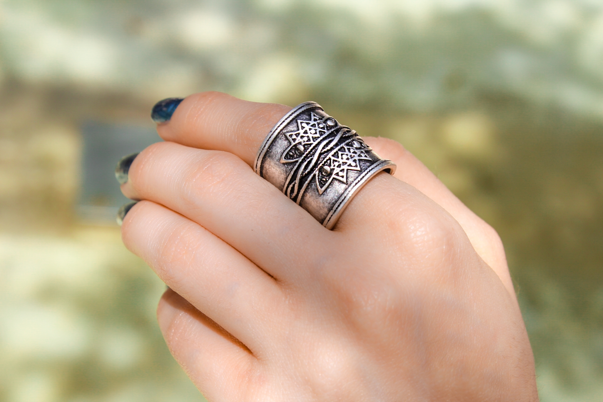 Silver Rope Statement Band Ring