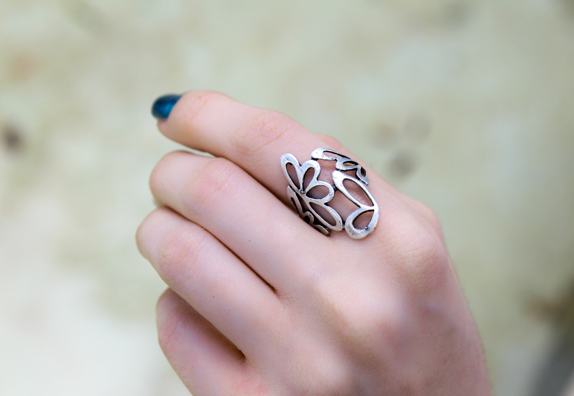 Silver Butterfly Band Ring