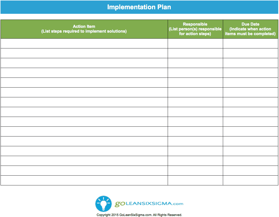 Lean Action Plan Worksheet