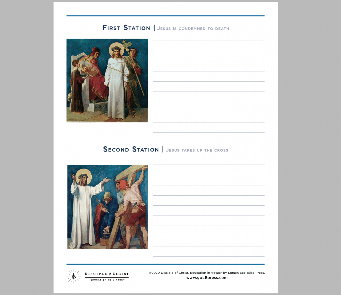 Stations Of The Cross Worksheets Lumen Ecclesiae Press
