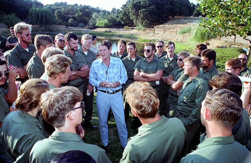 Seabees with Reagan