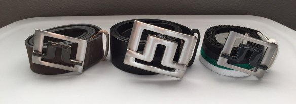 Original J.Lindeberg Slater belt (center) with large buckle and wide strap. New Slater 40 2.0 belts (left and right) with smaller buckle and thinner strap.