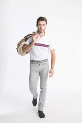 The Lucas Polo in White and the Ford Pant in Steel