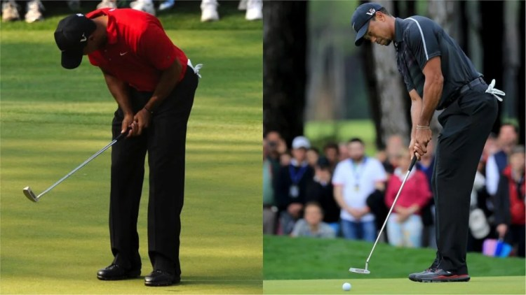 Tiger Woods in 2011 using the Nike Method 003 mid-mallet (left) and Woods in 2013 using the Nike Method 001.