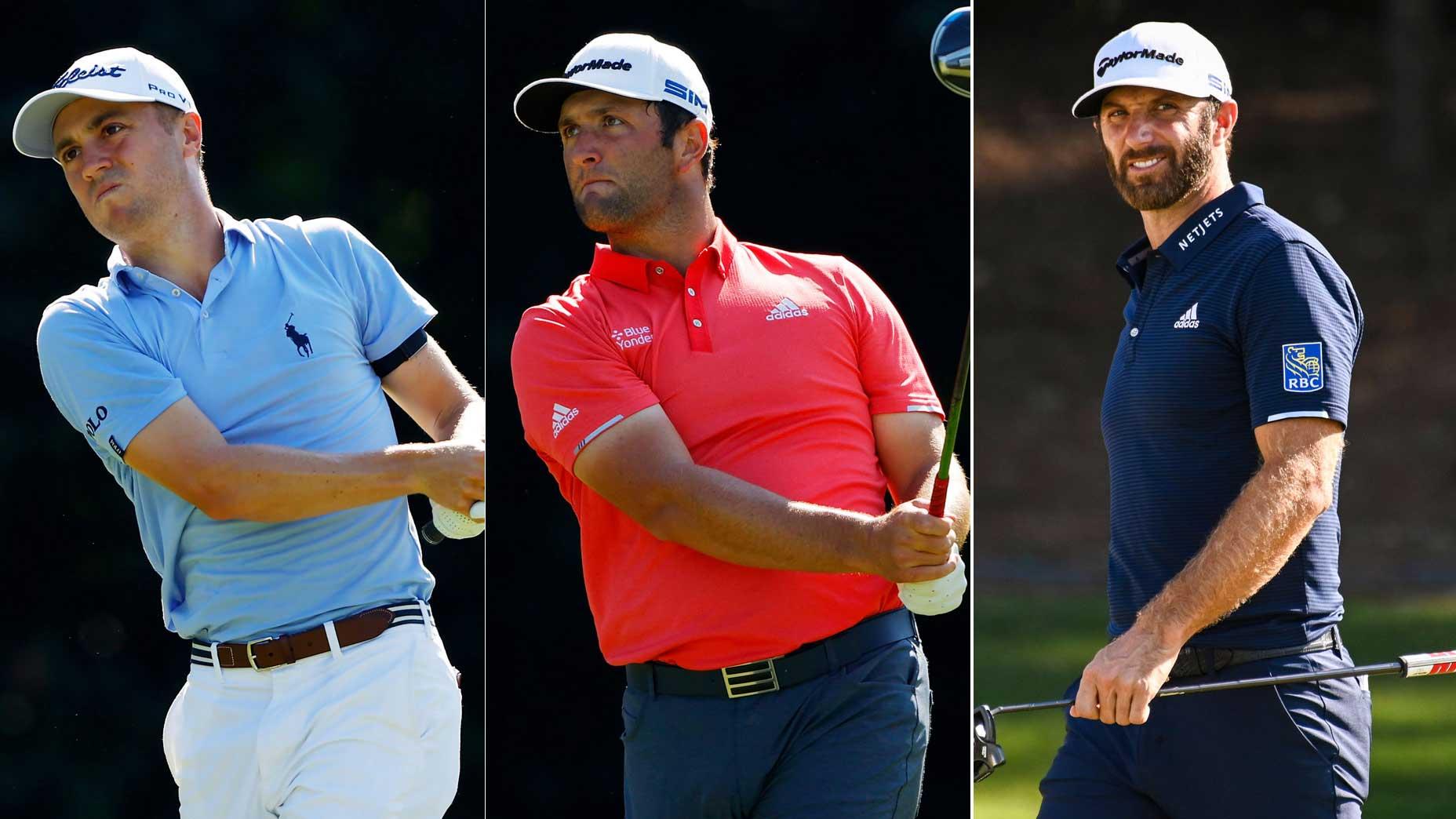 Pro golfers Justin Thomas, Jon Rahm and Dustin Johnson