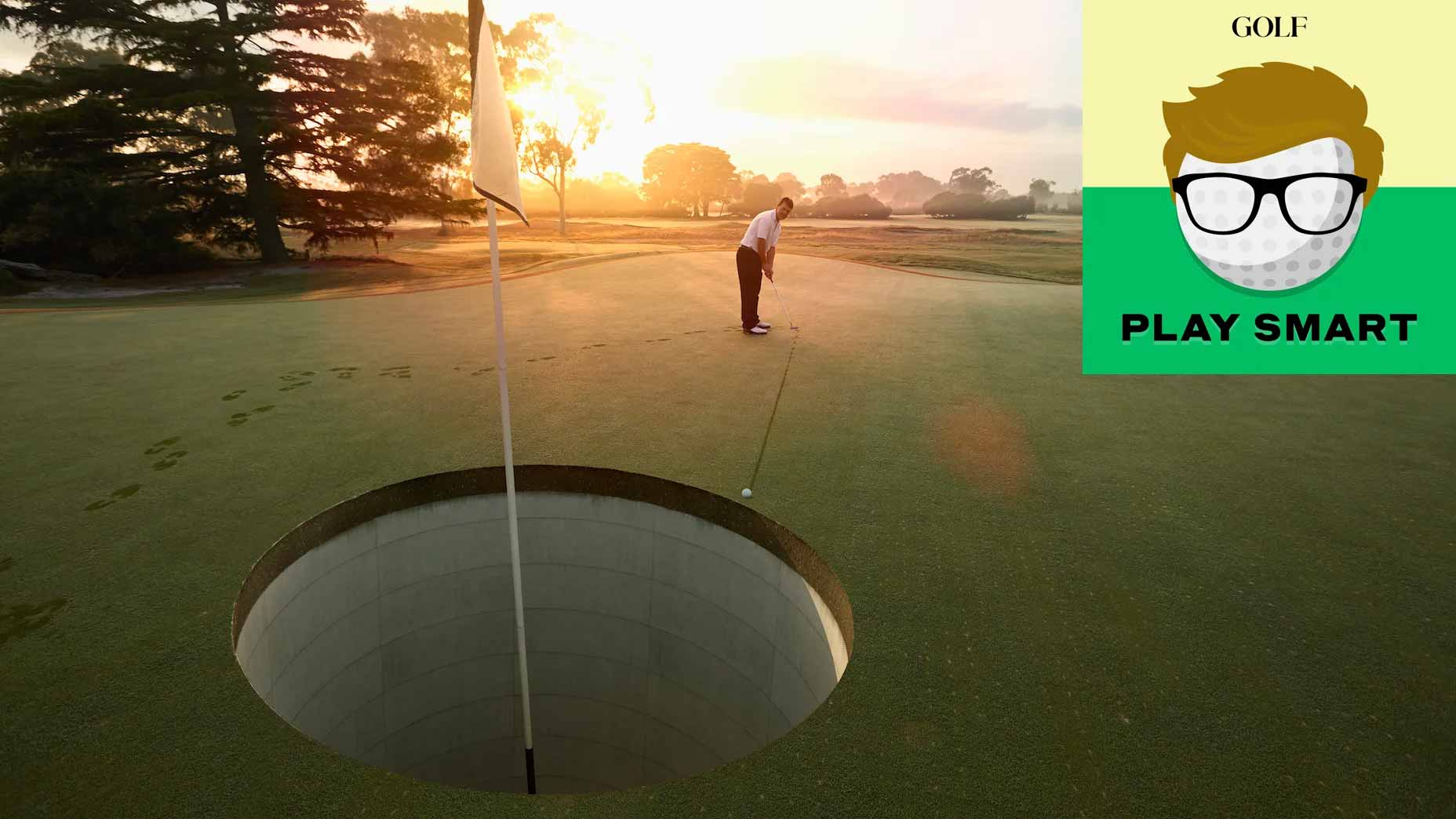 Golfer putting on golf course to giant hole