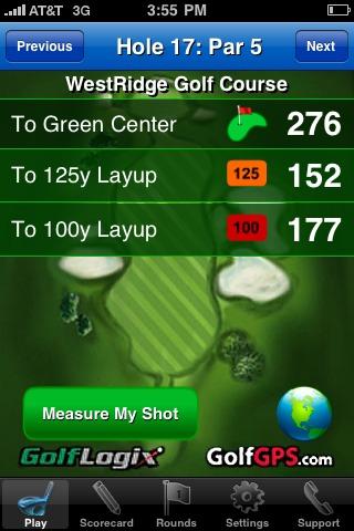 GolfLogix iPhone app - approach distance